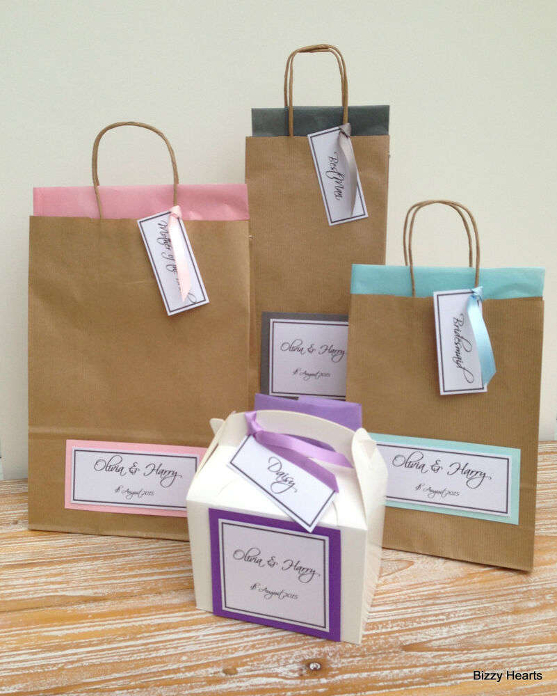 Personalised Wedding Gift Bags Uk : PERSONALISED LUXURY PAPER WEDDING GIFT BAGS PARTY FAVOUR BROWN WITH ...