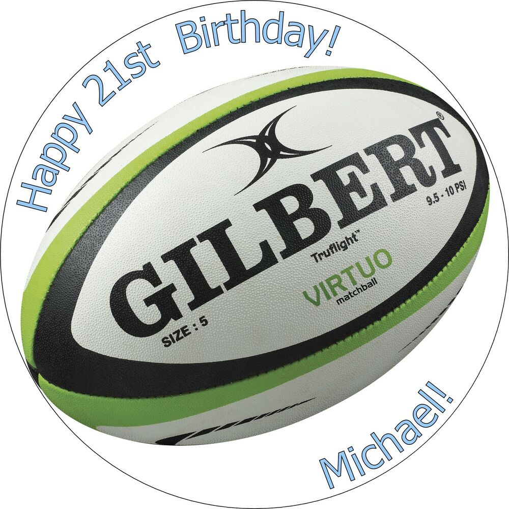 7.5 Inch Rugby Ball Edible Cake Toppers Decorations Wafer ...