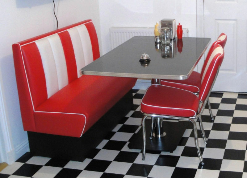 Retro furniture 50s american diner restaurant kitchen half for 50s style kitchen table