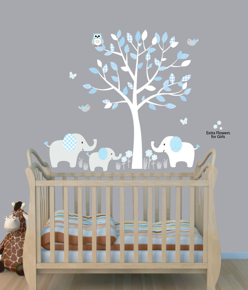 Elephant tree nursery sticker decal boys room wall decor for Baby name nursery decoration