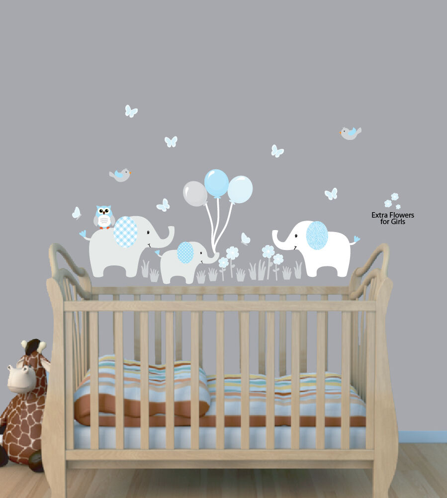 Three elephants balloon decal balloon nursery wall for Boys room wall mural