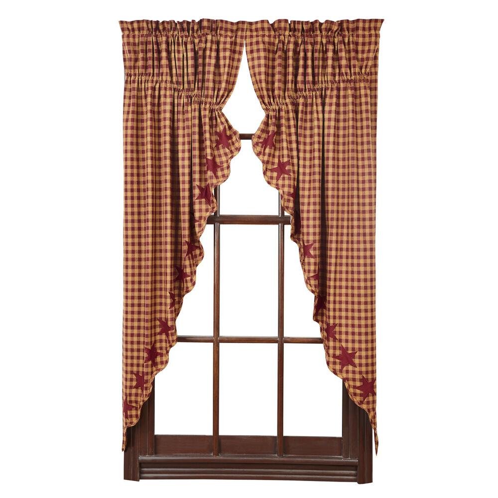 "Primitive Country Burgundy Star Prairie Curtain Set 63"" Long Burg Tan ..."