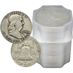 Kyпить FULL DATES Roll of 20 $10 Face Value 90% Silver Franklin Half Dollars на еВаy.соm