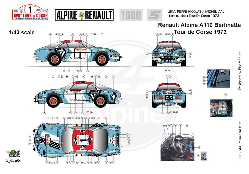 ffsmc productions decals 1 24 berlinette alpine a110 1800 tour de corse 1973 ebay. Black Bedroom Furniture Sets. Home Design Ideas