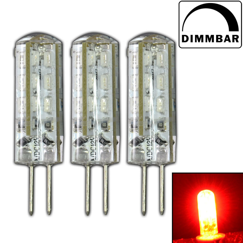 3x g4 led 1 5 watt lampe dimmbar rot rotlicht 12v dc 24 smd halogen dimmer ebay. Black Bedroom Furniture Sets. Home Design Ideas