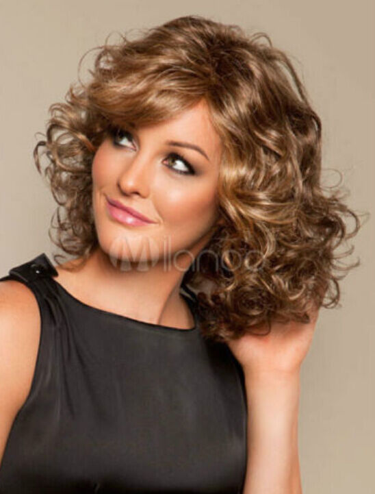 medium length curly haircuts light brown volume curls heat resistant fiber medium 1635