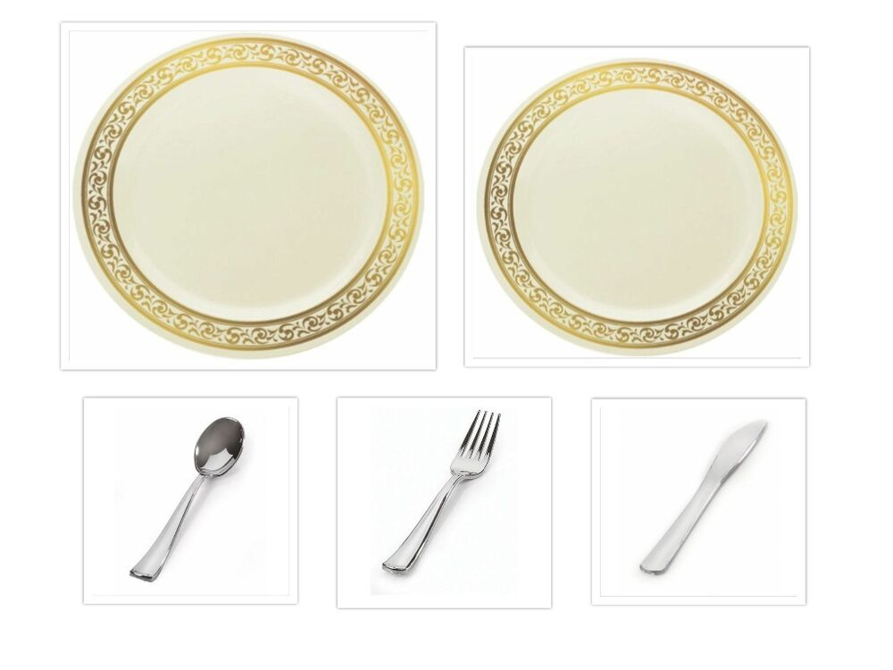 decorline china like cream gold plastic plates w cutlery. Black Bedroom Furniture Sets. Home Design Ideas