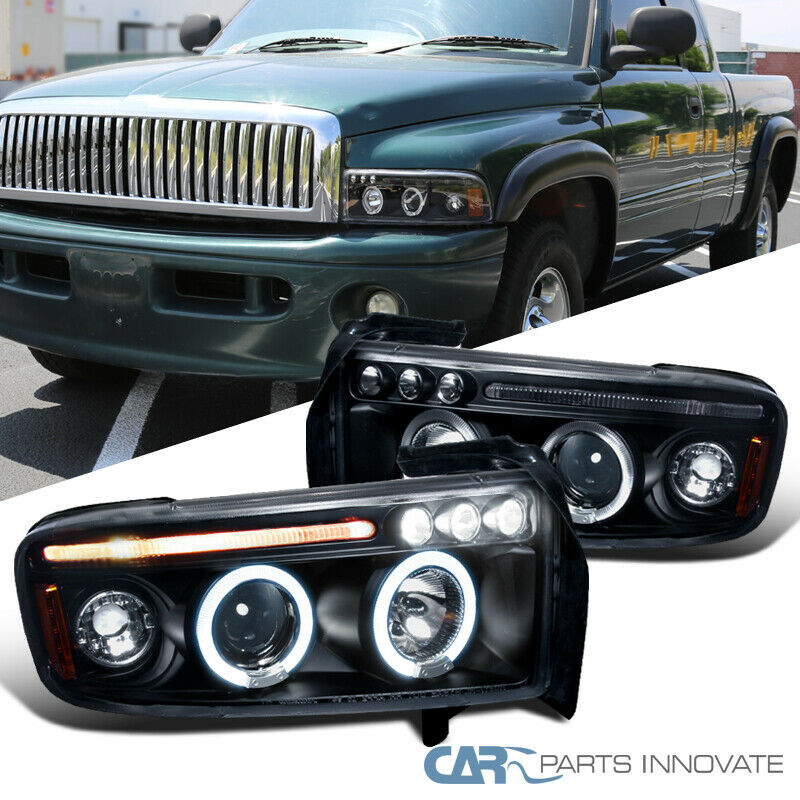 Details About Dodge 94 01 Ram 1500 2500 3500 Led Halo Projector Headlights Lamps Black Pair