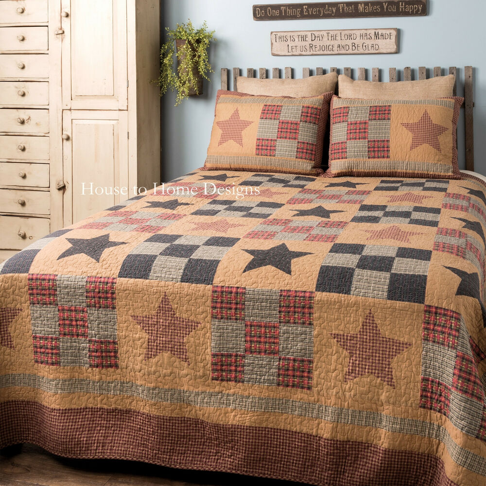 Prairie Cabin 3p King Quilt Set Primitive Star Patch