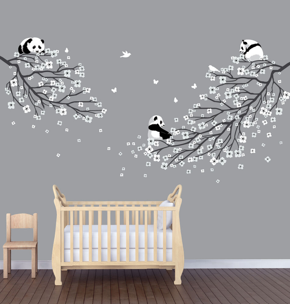 Two flower branches pandas nursery sticker animal wall for Animal wall decoration