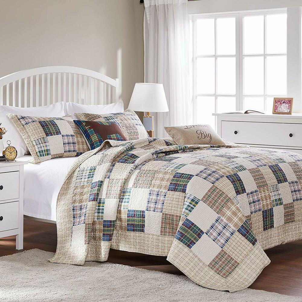 Brown Plaid Twin Full Queen King Quilt Set Preppy Madras