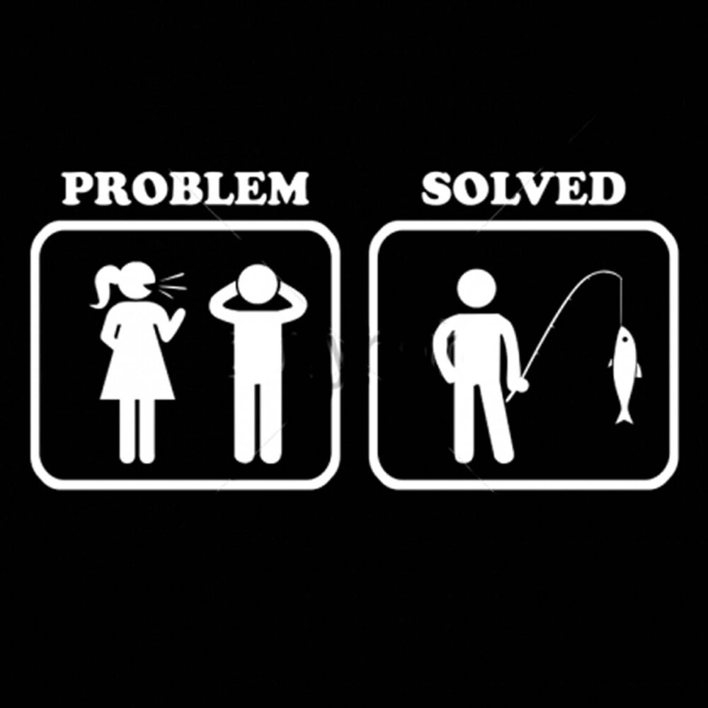 Problem solved fishing marriage funny saying t shirts mens for Women s fishing t shirts