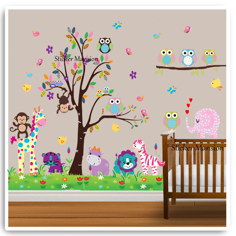 Owl animal wall stickers monkey zoo jungle tree nursery for Baby jungle safari wall mural