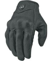 Mens icon pursuit black leather perforated motorcycle gloves