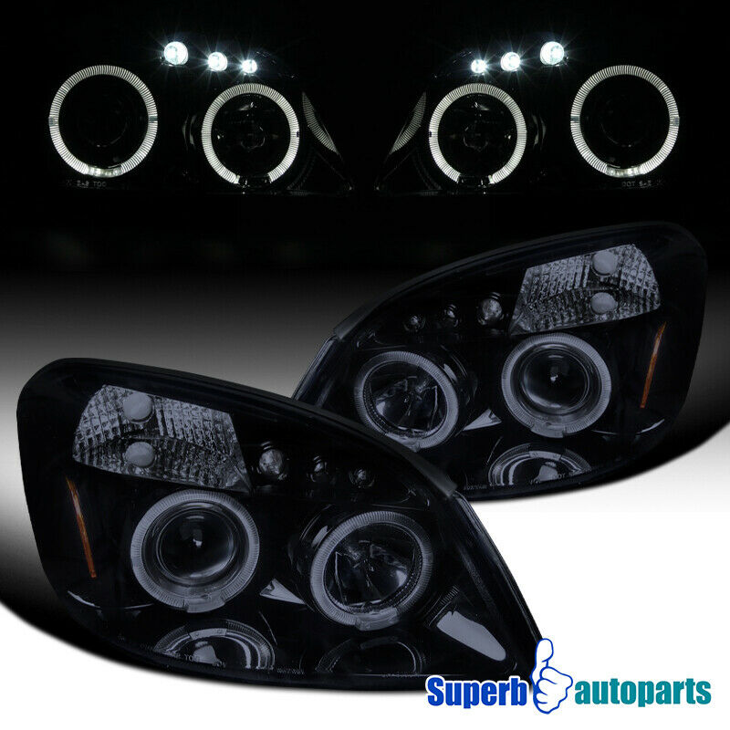 Details About 2005 2010 Chevy Cobalt Smoke Halo Led Projector Headlights Glossy Black Pair