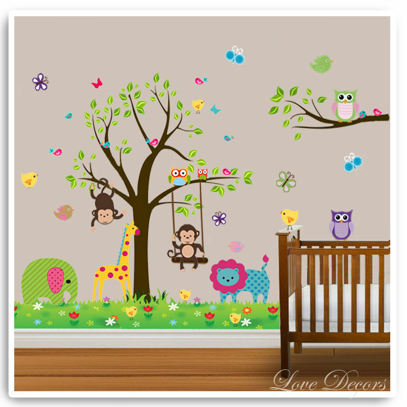 Owl animal wall stickers lion jungle zoo tree nursery baby for Baby jungle mural