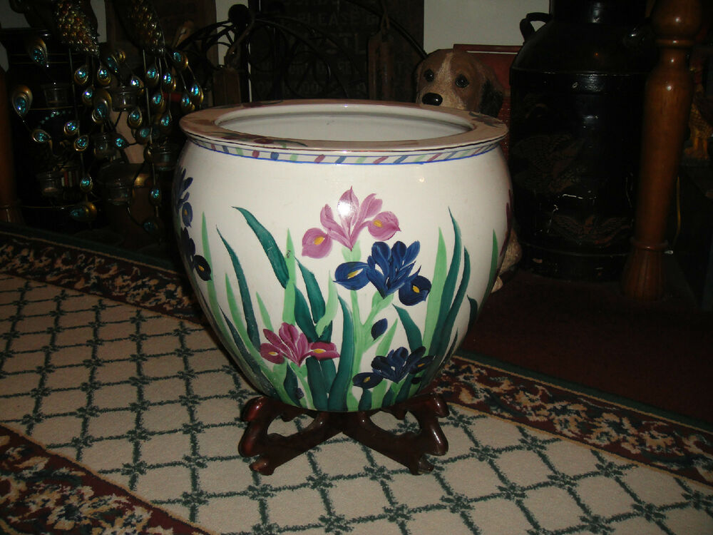 Superb chinese pottery fish bowl planter w stand painted for Koi fish bowl