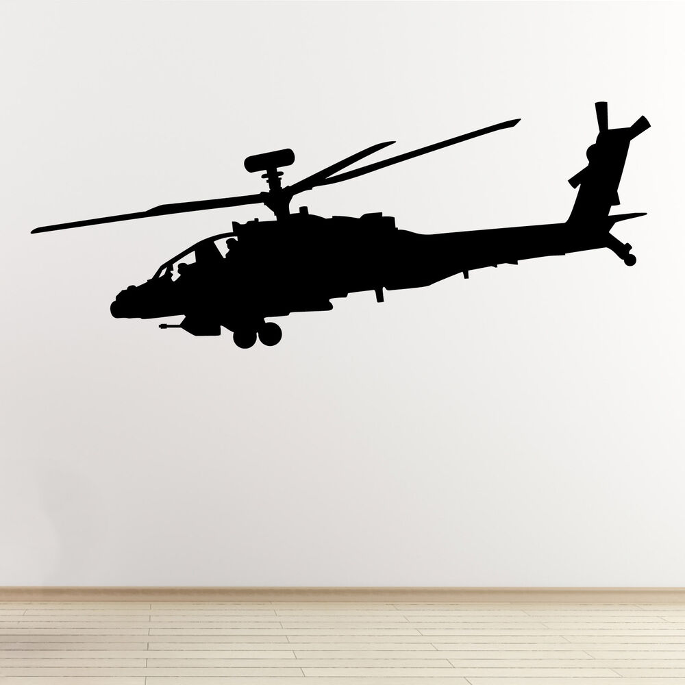 Apache Helicopter Wall Sticker - Military Attack Aircraft ...