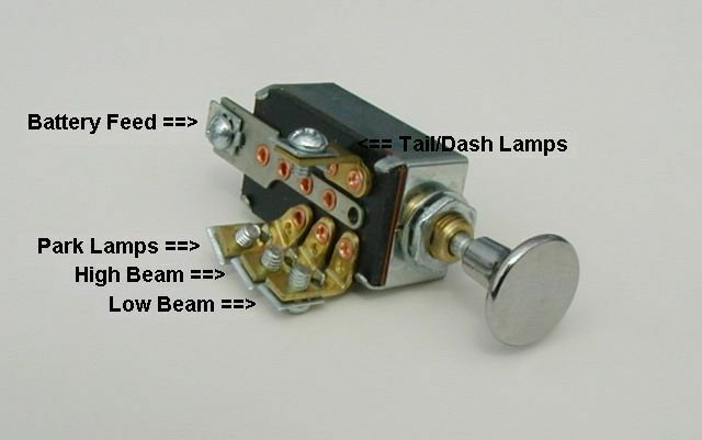 Headlight Dimmer Switch 4 Position With Chrome Knob