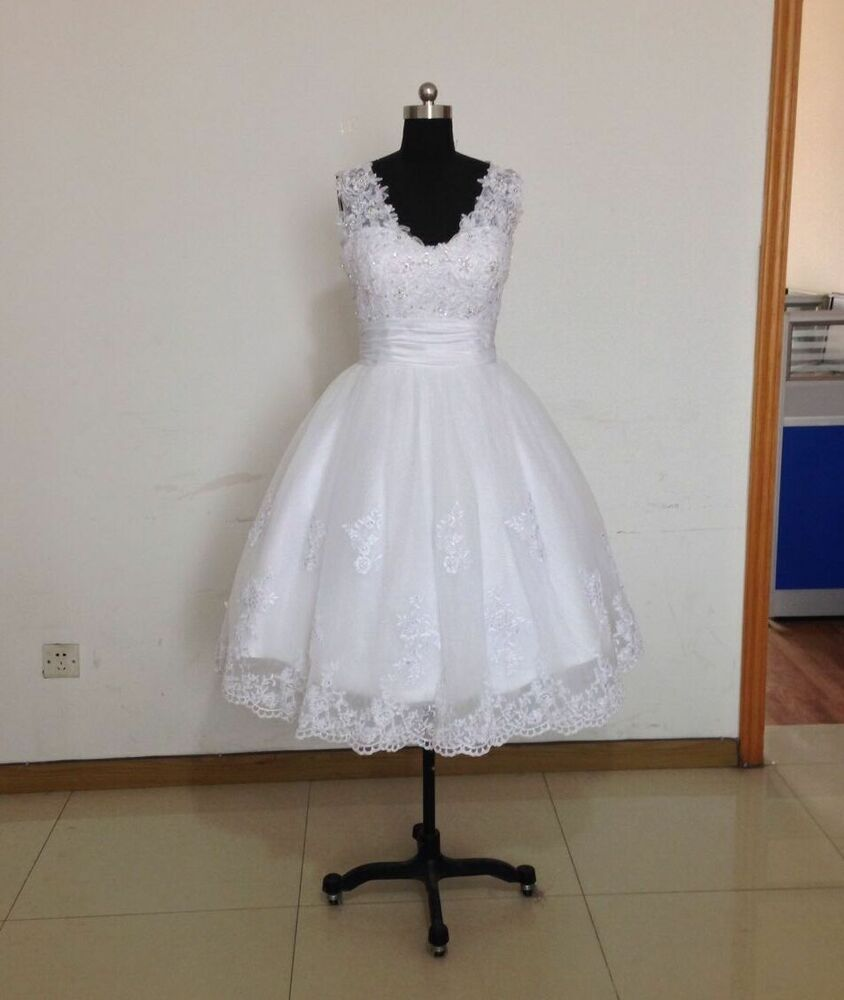 New white short lace wedding dress bridal gown size uk 4 6 for Ebay wedding dresses size 12