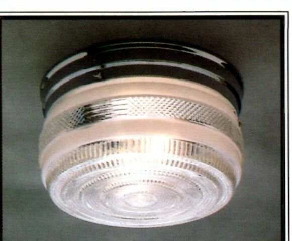 Chrome Bath Lighting Fixtures: NEW Drum CHROME Vintage GLASS Retro CEILING LIGHT FIXTURE