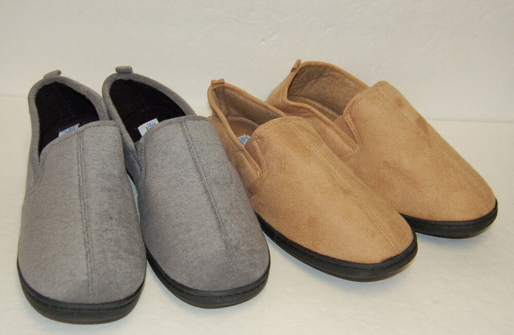 mens haband plush brown moccasin slip on comfort slippers