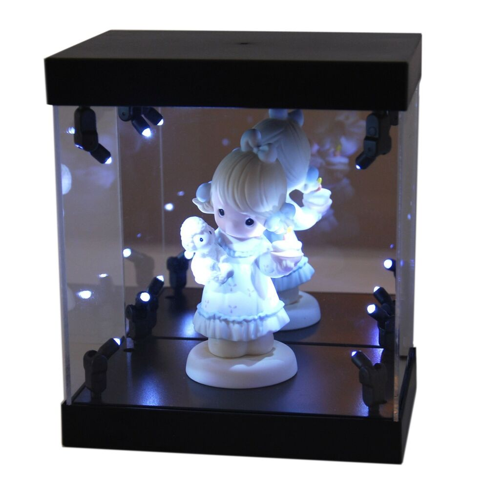 mb display box acrylic case led light house for mini collectible doll figurine ebay. Black Bedroom Furniture Sets. Home Design Ideas