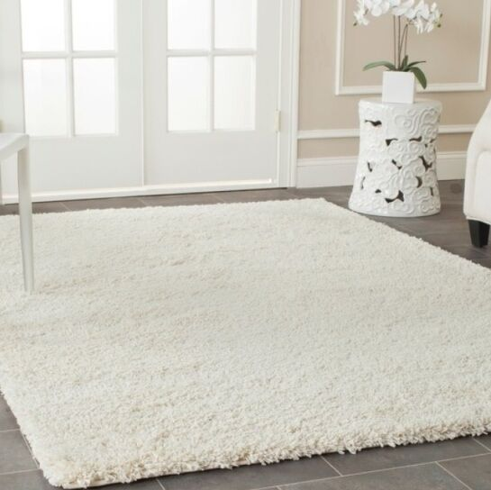 Ivory White Solid Shag Area Rug Rugs Carpet 4 6 5 8 7 10 8