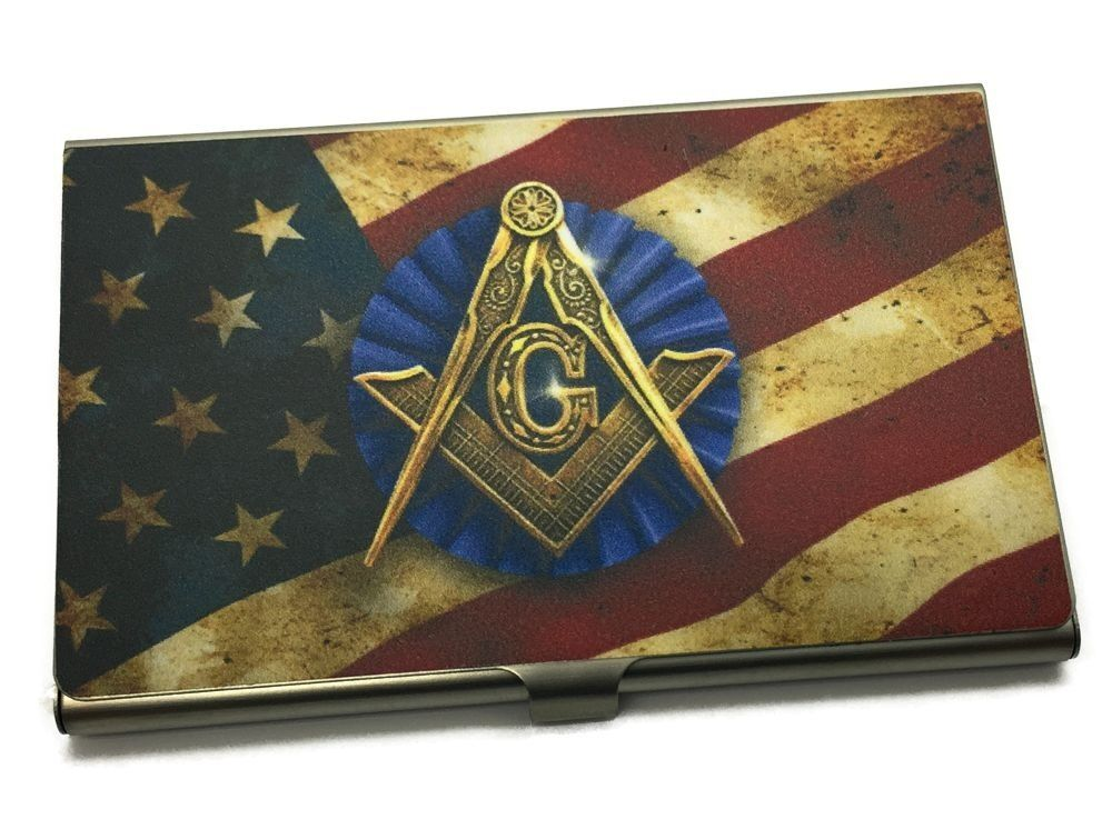 Personalized metal business card holder with masonic for Masonic business card holder