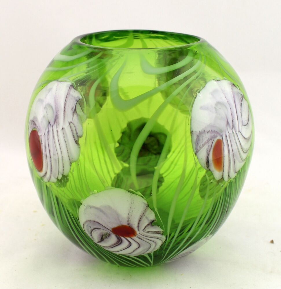 New 6 Quot Hand Blown Glass Art Vase Bowl Candle Holder Green