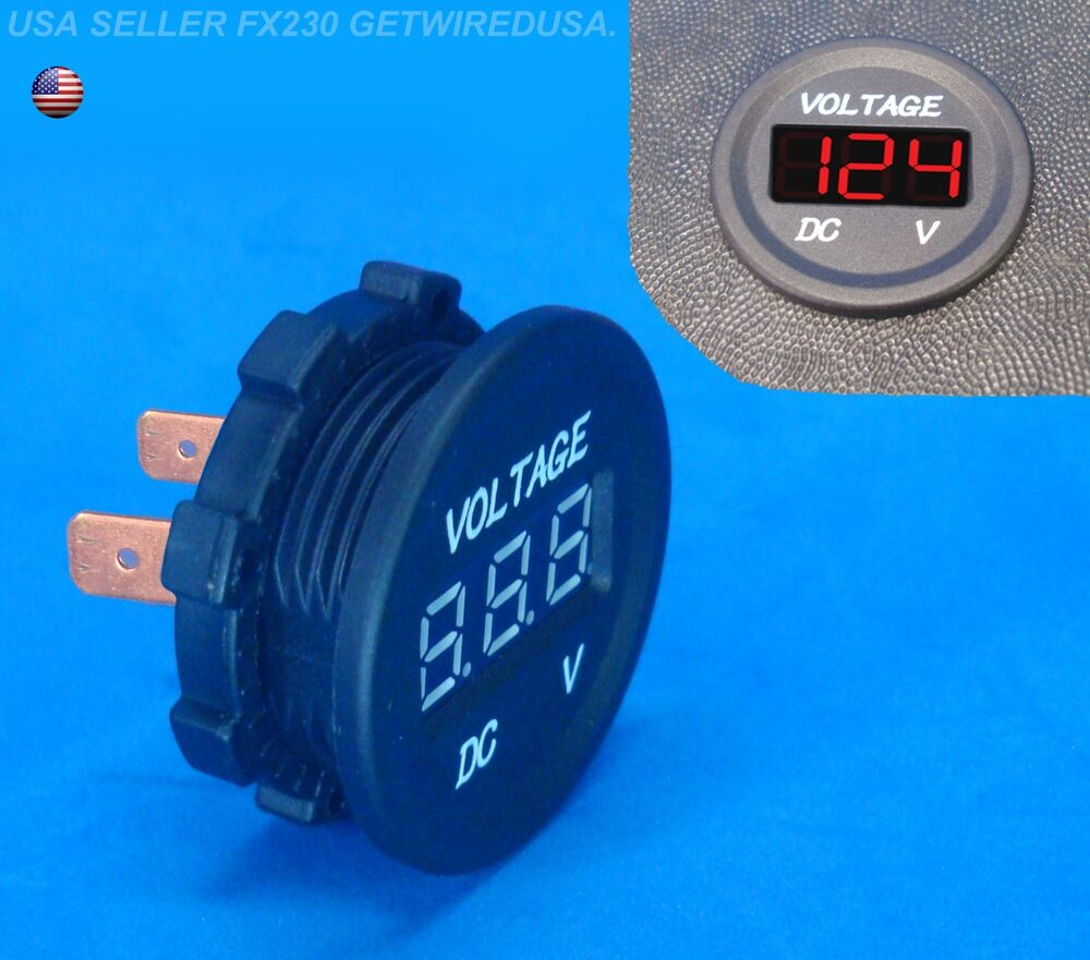 12 Volt Panel Meter : Flush mount meter voltage gauge volt dc digital display