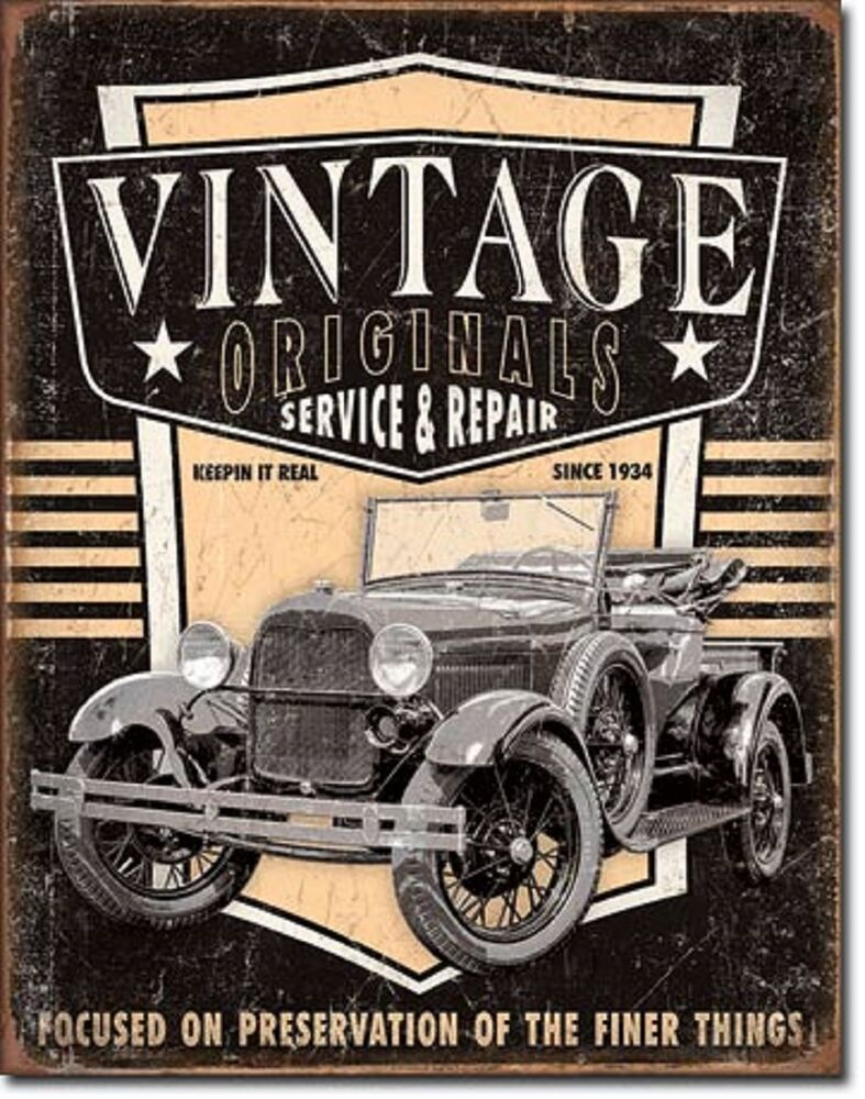Vintage Tin Sign Automotive : Vintage originals antique truck wall art tin sign metal