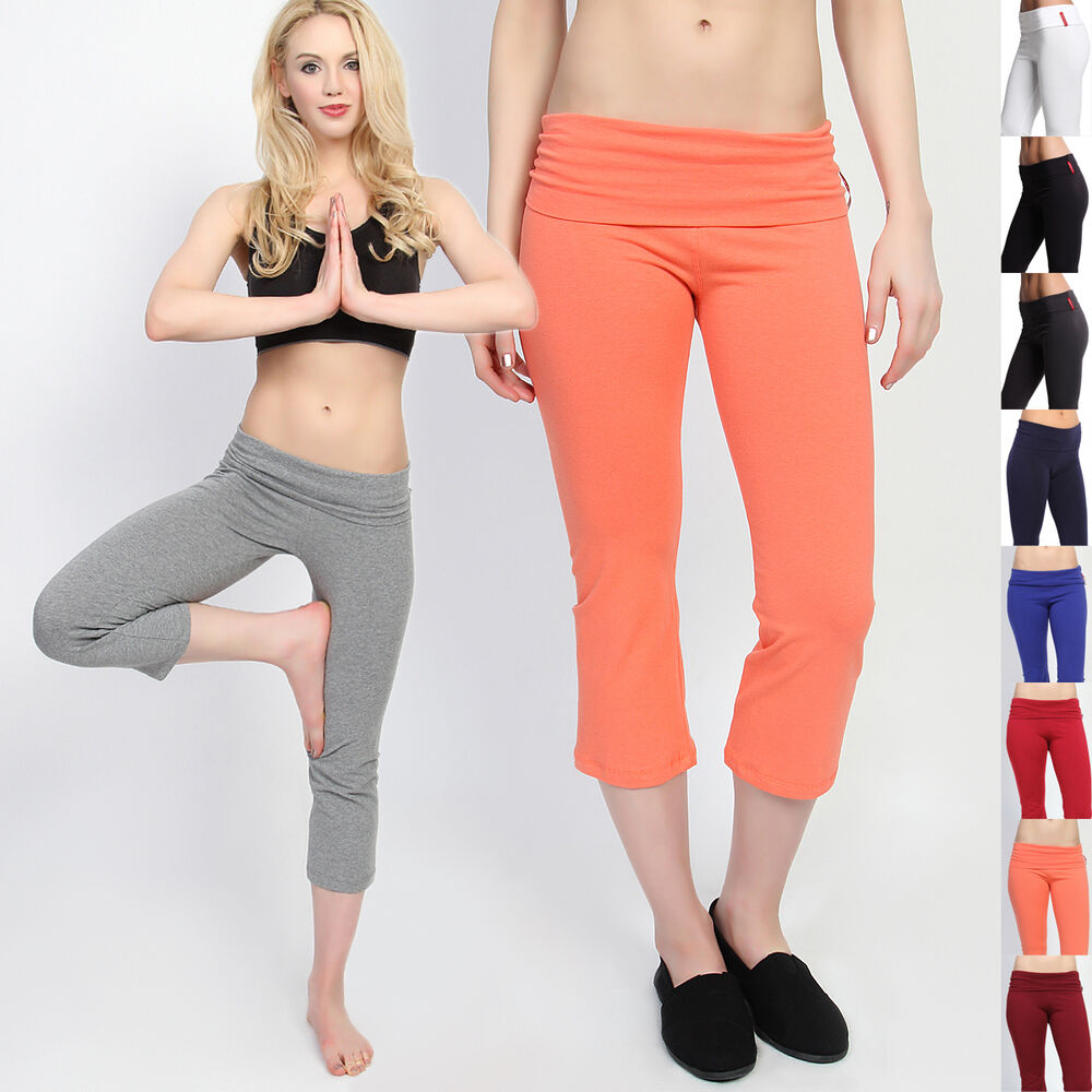 TheMogan Foldover Waist Cropped Yoga Pants Flared Lounge