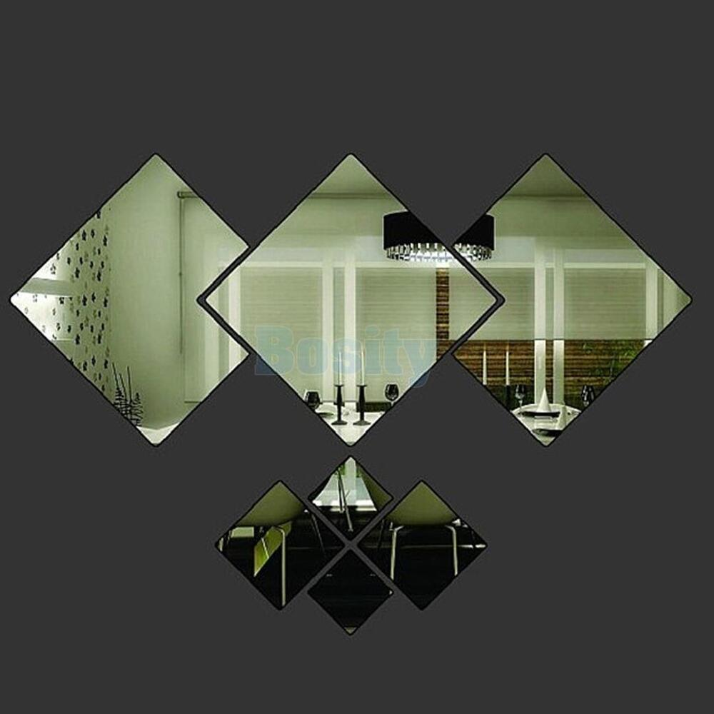 7pcs diamond modern plastic mirror wall home decal decor for Deco 3 miroirs
