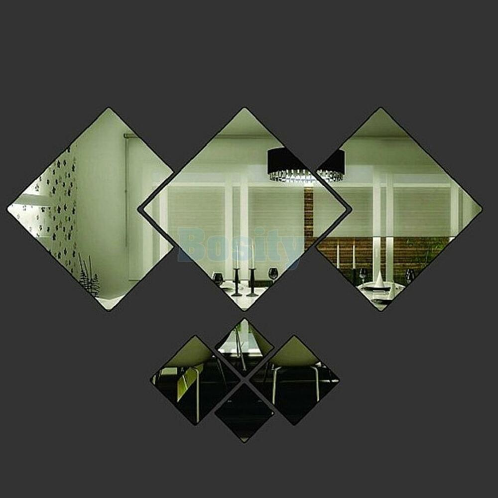 7pcs diamond modern plastic mirror wall home decal decor for Stickers para pared decorativos