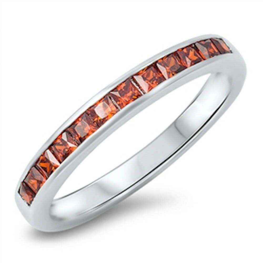Garnet Ring Bands: Garnet Princess Cut Eternity Band .925 Sterling Silver