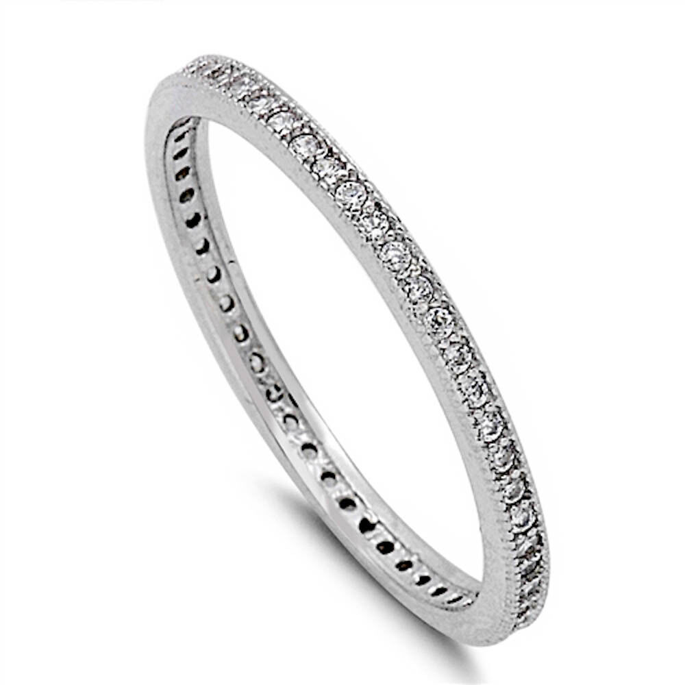 cubic zirconia eternity wedding band 925 sterling silver ring sizes 4