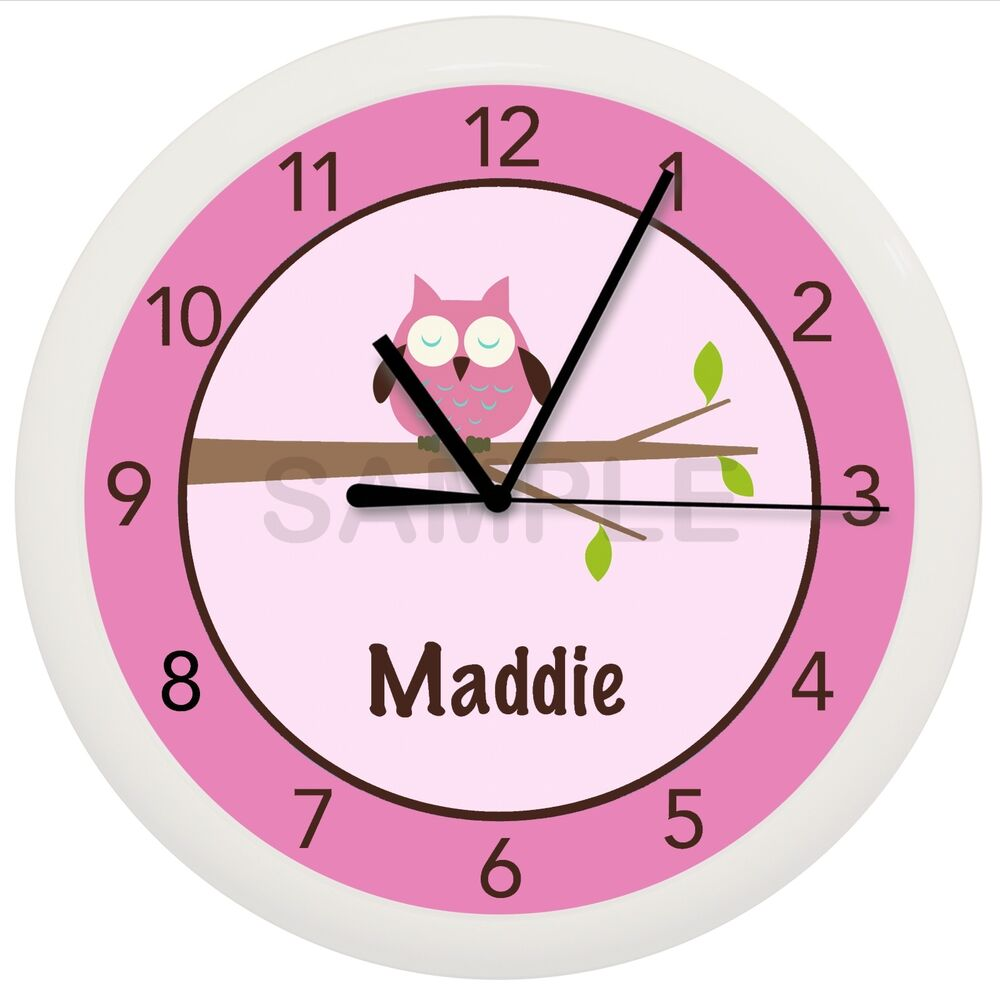 Bedroom Wall Clock Design : Pink owl nursery wall clock personalized customized girls