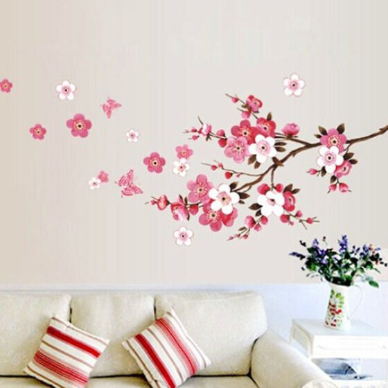 pink peach cheery blossom plum flower butterfly floral ForStickers Para Habitaciones Juveniles