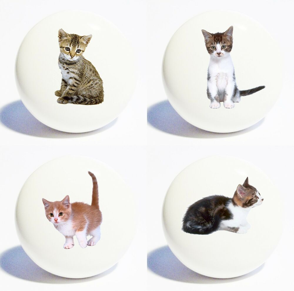 Four Cats Kittens Home Decor Ceramic Kitchen Knobs Drawer