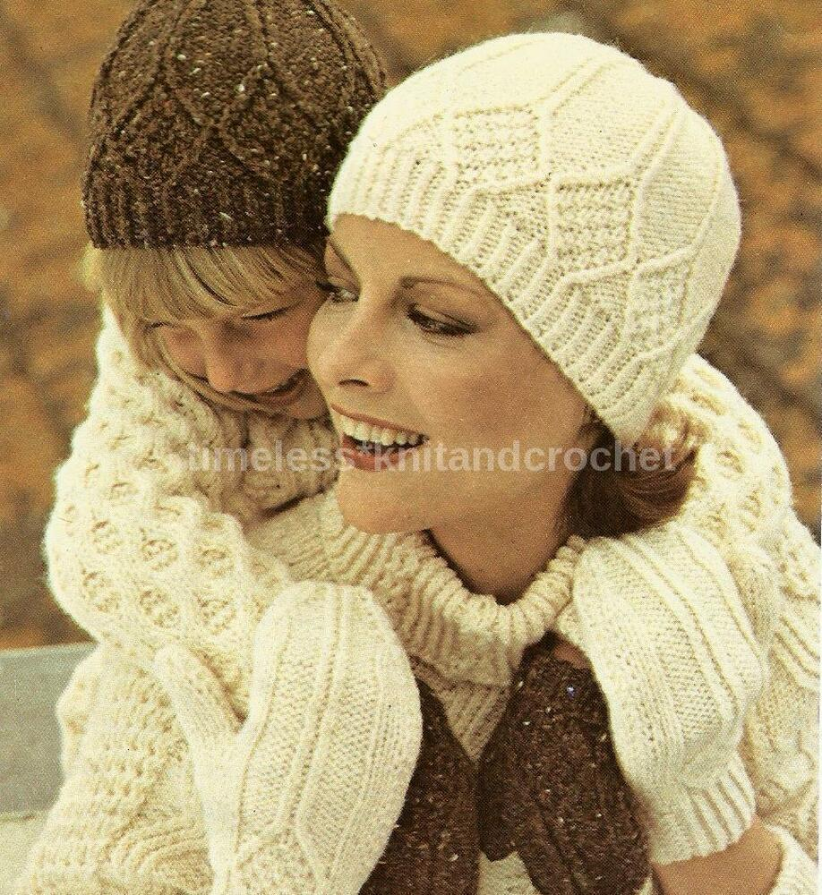 VINTAGE KNITTING PATTERN FOR ARAN STYLE HAT & MITTS ...