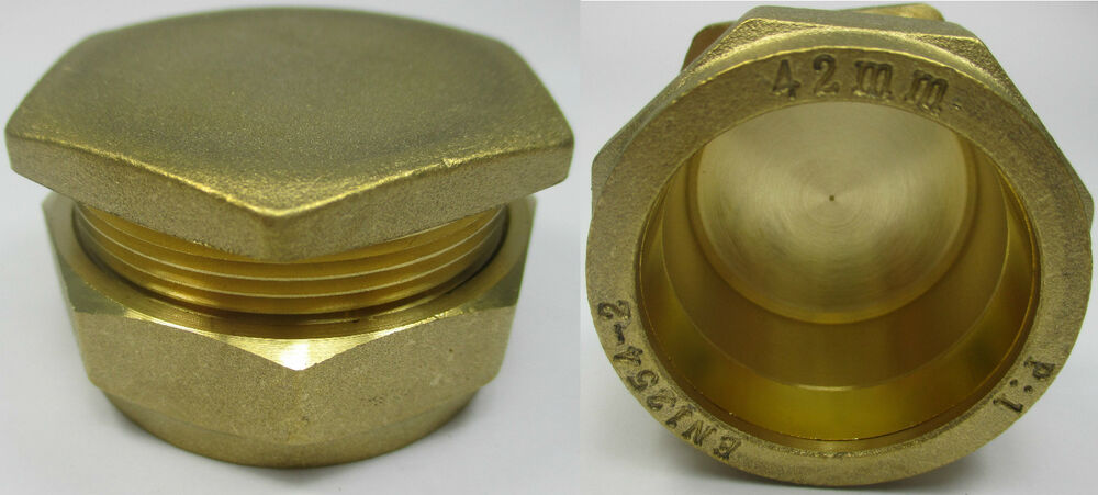 Brass compression fittings stop end cap blank