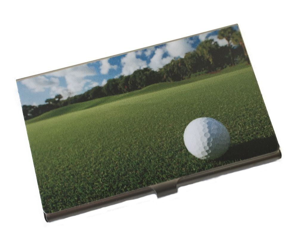 Personalized Metal Business Card Holder with Golf Course