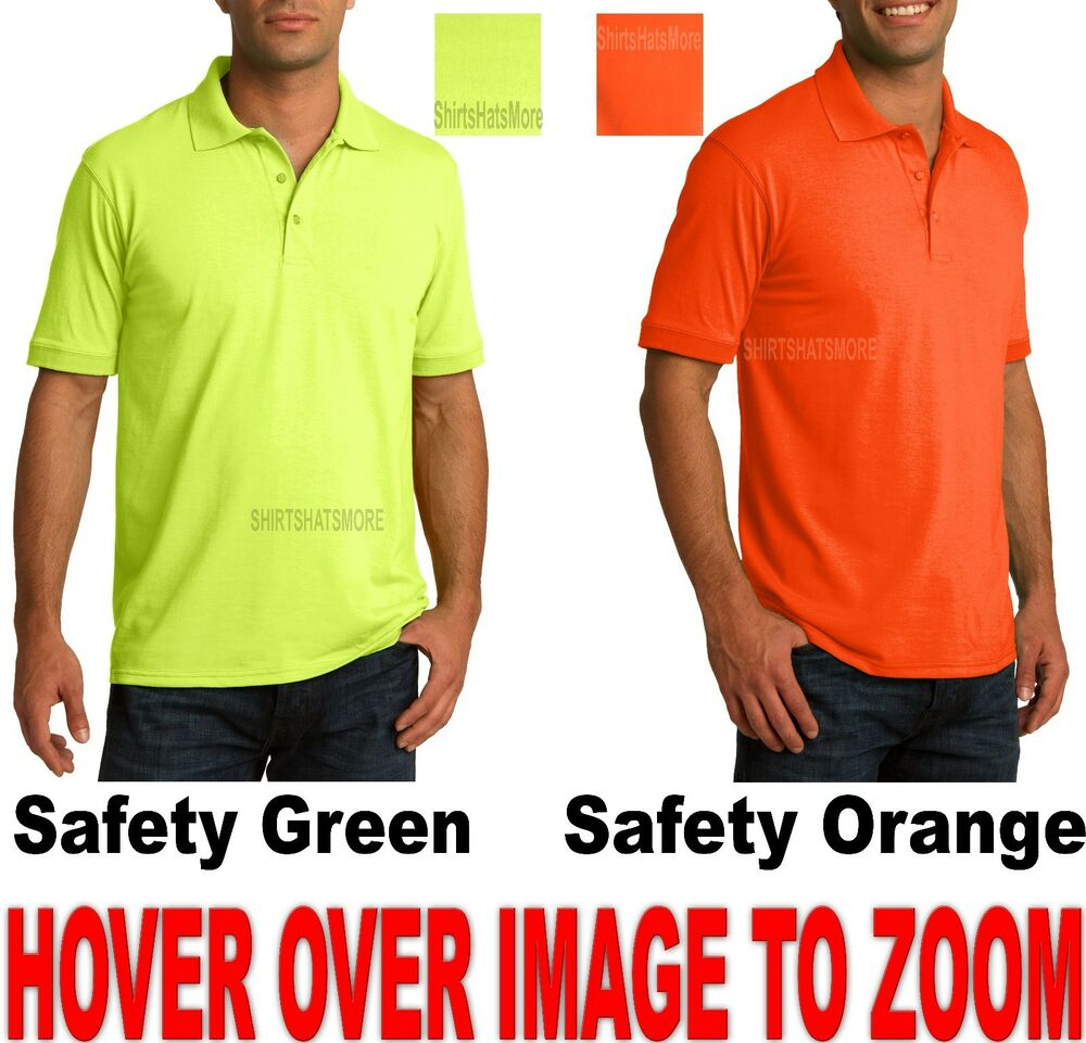 Mens Polo Shirt Cottonpoly Blended High Visibility Safety Green