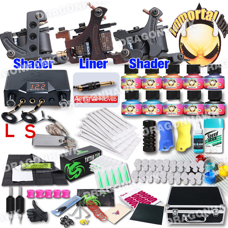 Professional complete tattoo kit 3 top machine gun 10 inks for Tattoo supplies ebay