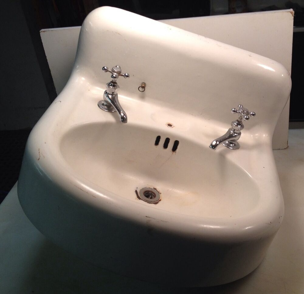 Vintage Antique White Cast Iron Porcelain Bathroom Sink W Faucets Ebay