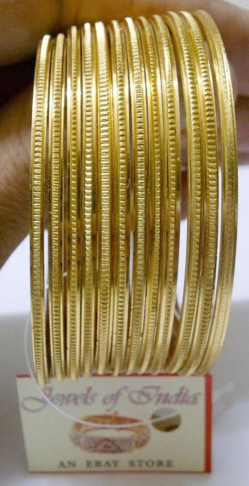 Slim 22k 24k Gold Plated 12 Pcs Thin Bangle Bracelet