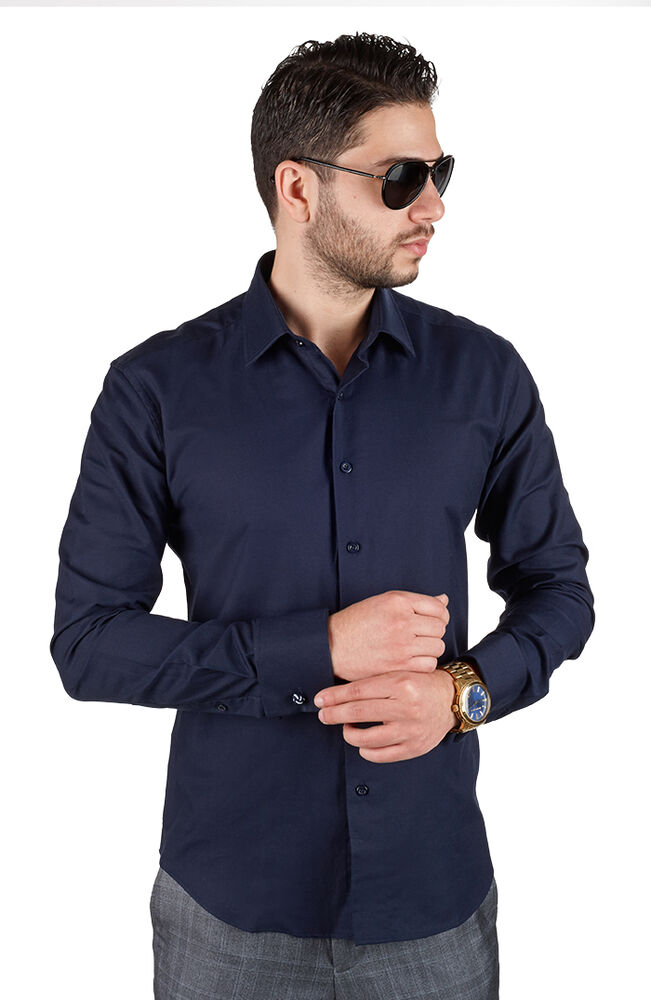 Navy blue tailored slim fit men 39 s french cuff dress shirt for Men s spread collar shirts