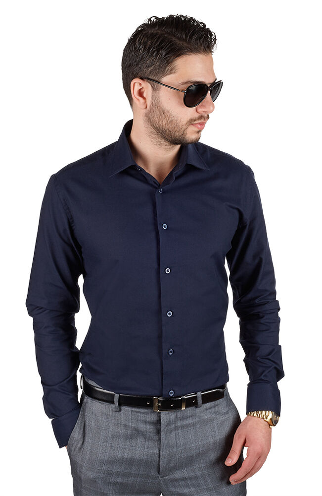 navy blue tailored slim fit mens dress shirt wrinkle free