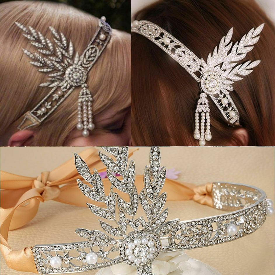 gatsby hair styling flapper 1920 s great gatsby style pearl crown jsdt 3350